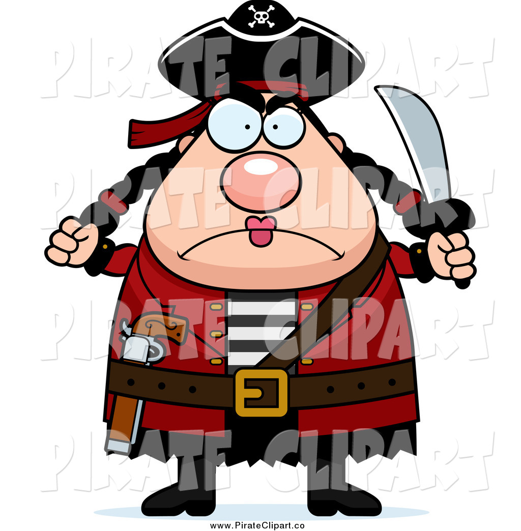 1024x1044 Vector Clip Art Of A Chubby Mad Female Pirate Holding Up A Fist