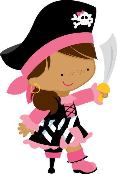 387x576 Peg Leg Pirate Princess Clip Art