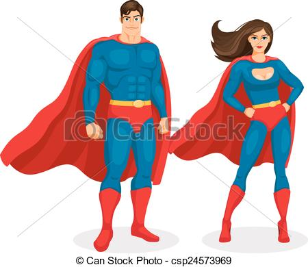 450x390 Illustration Superman And Superwoman Isolated On White Clip Art