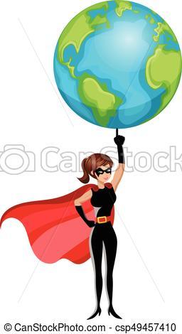 256x470 Superhero Woman Lifting Earth Finger Isolated. Superhero Vector