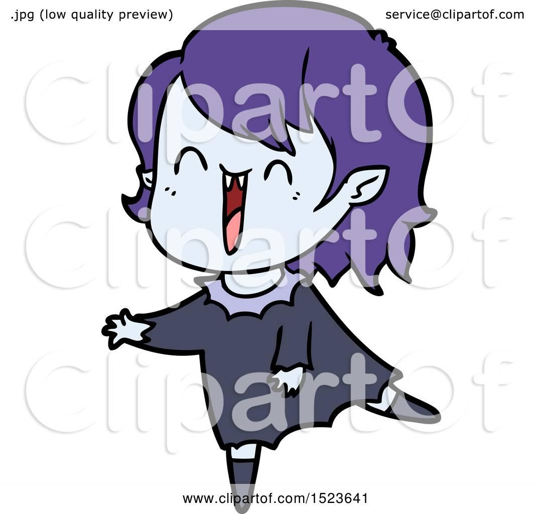 1080x1024 Cute Cartoon Happy Vampire Girl By Lineartestpilot