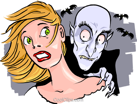 480x362 Vampire With His Victim Royalty Free Vector Clip Art Illustration