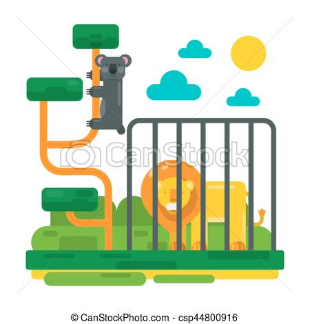 450x470 Lion Near Fence And Lemur On Abstract Branches. Zoo Picture