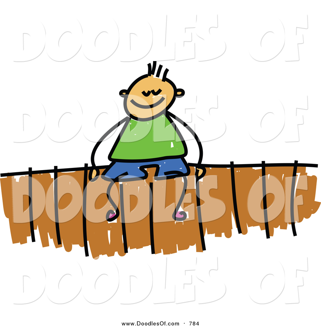 1024x1044 Vector Clipart Of A Doodled White Boy Sitting On A Fence By Prawny