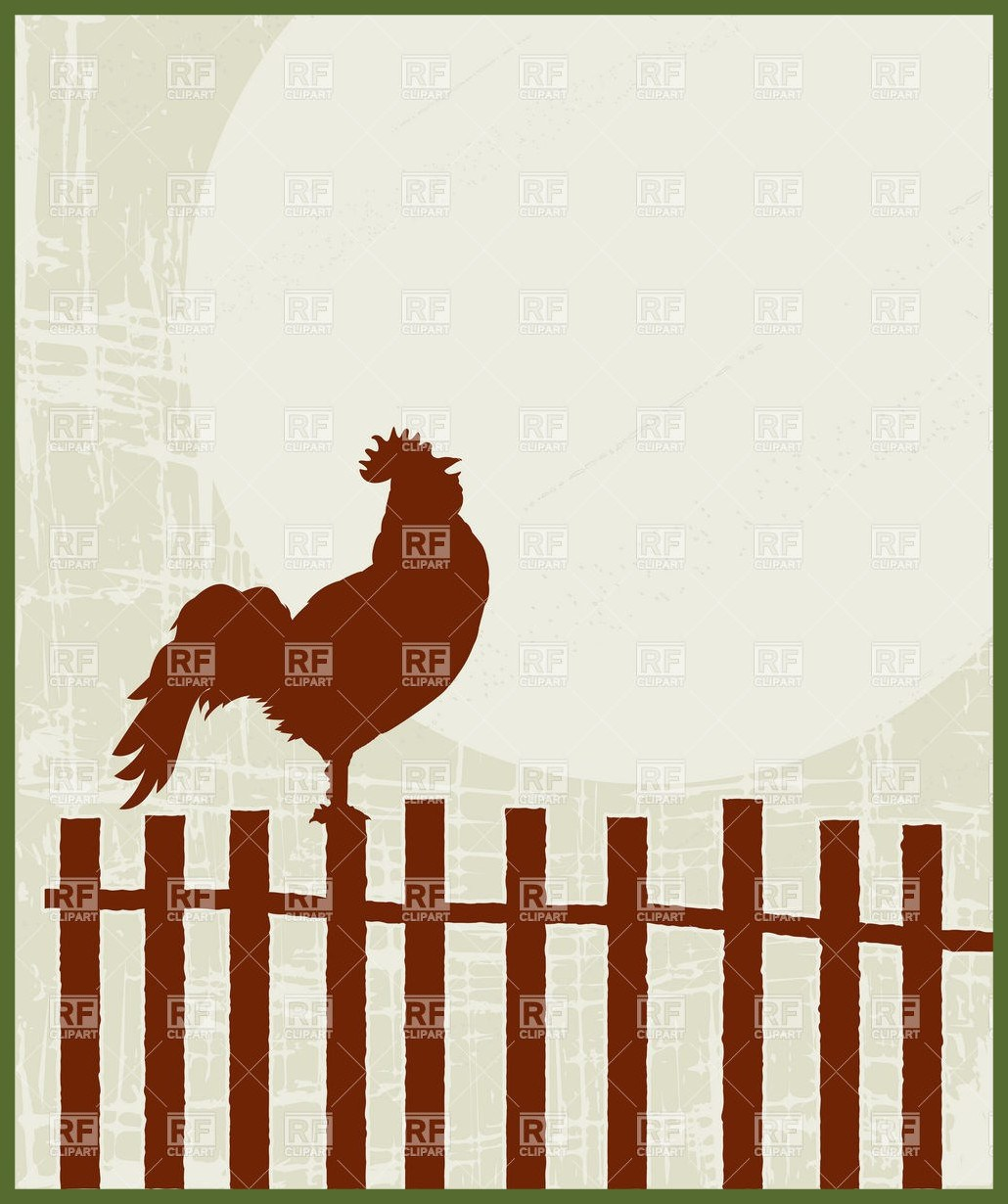 1030x1230 Appealing Proud Rooster On The Fence Royalty Vector Clip Art Image