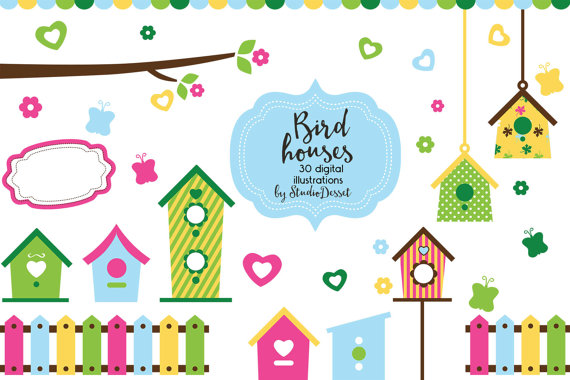 570x380 Birdhouse Cliparts, Bird House Illustration Flowers, Fence Clipart