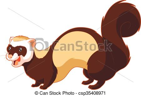 450x308 Vector Image Of The Cartoon Smiling Ferret Vectors Illustration