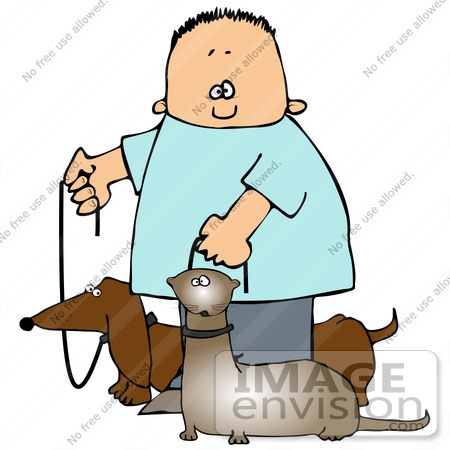 450x450 Clip Art Graphic Of A Happy Boy Walking His Little Wiener Dog
