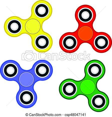 447x470 Fidget Spinner Stress Relieving Toy Set Vector Eps 10 Eps Vector