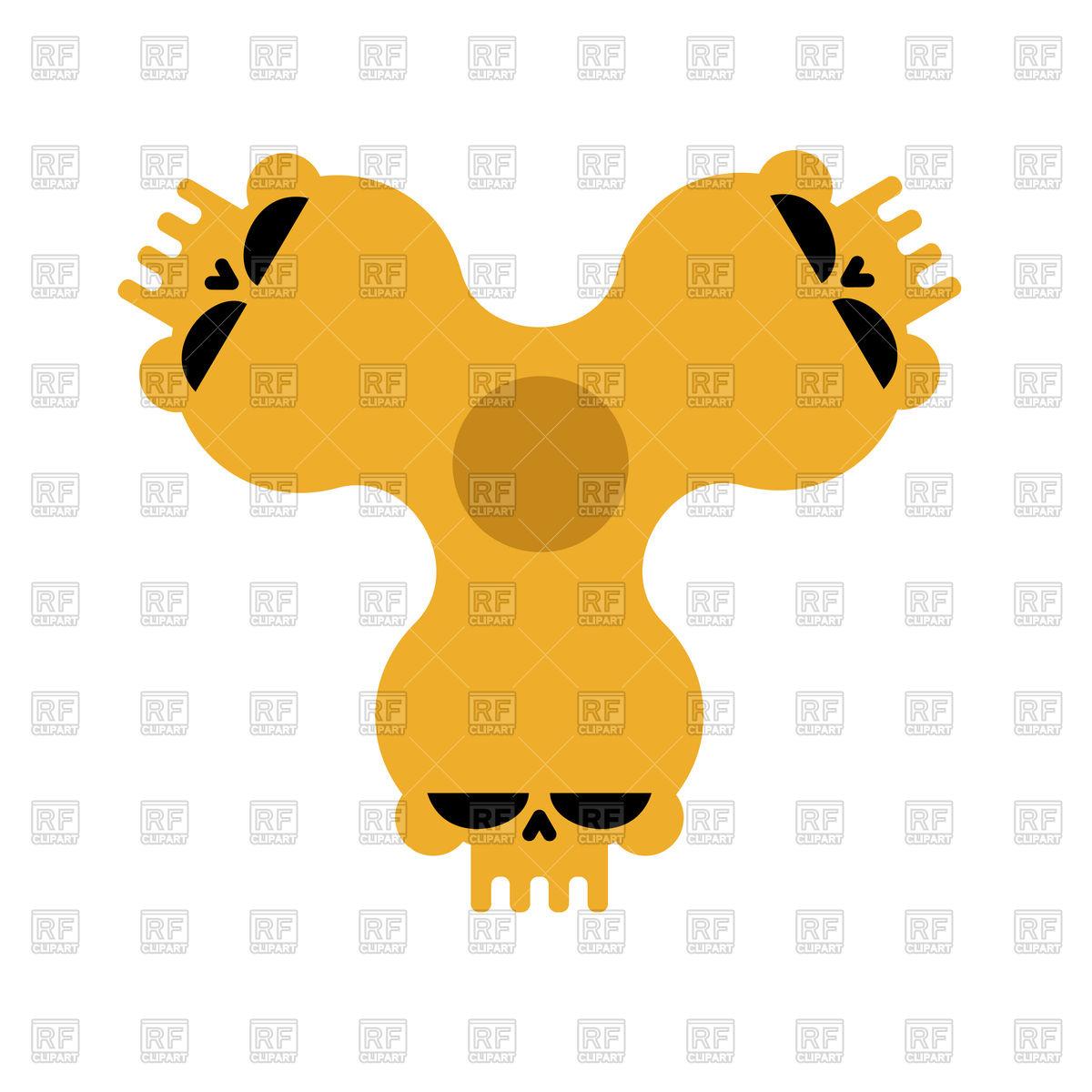 1200x1200 Spinner Skull. Bones Fidget Finger Toy. Royalty Free Vector Clip