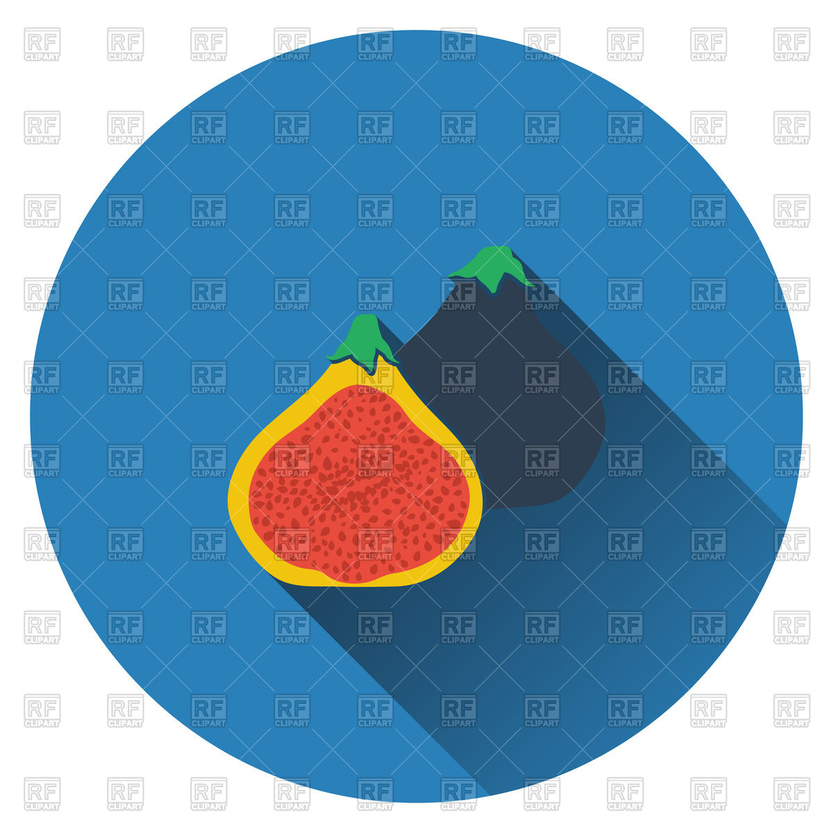1200x1200 Fig Fruit Icon. Flat Design. Royalty Free Vector Clip Art Image