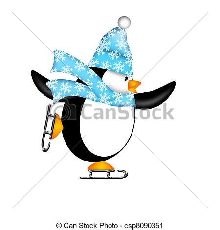 450x470 Penguin Ice Skating Clipart