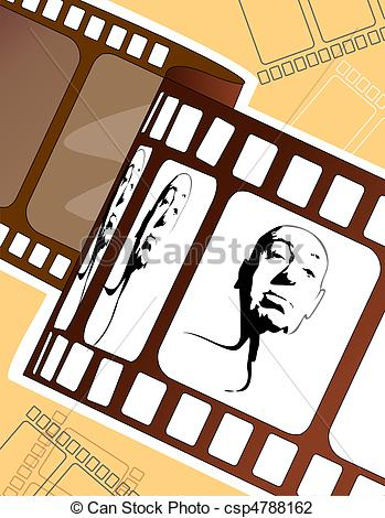 349x470 Film Roll With Human Face Illustration Of Film Roll With Clip