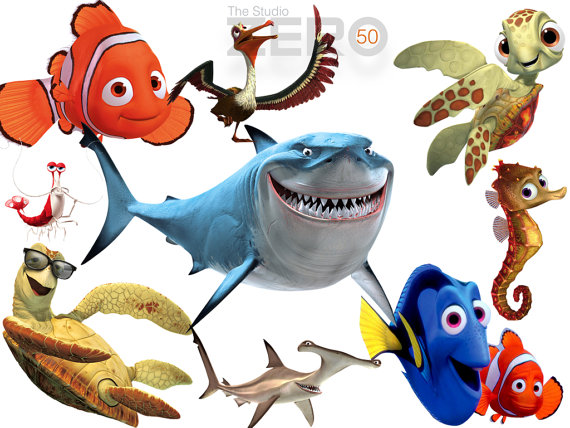 570x428 50 Finding Nemo Clipart, 300dpi Png Images, Instant Download