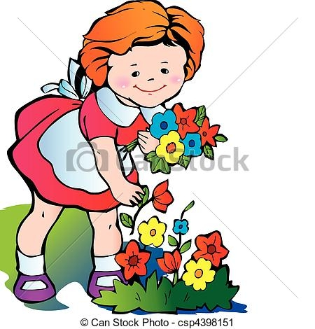 450x470 Clipart Picking Flowers Fine Little Girl Gather Flowers Happy