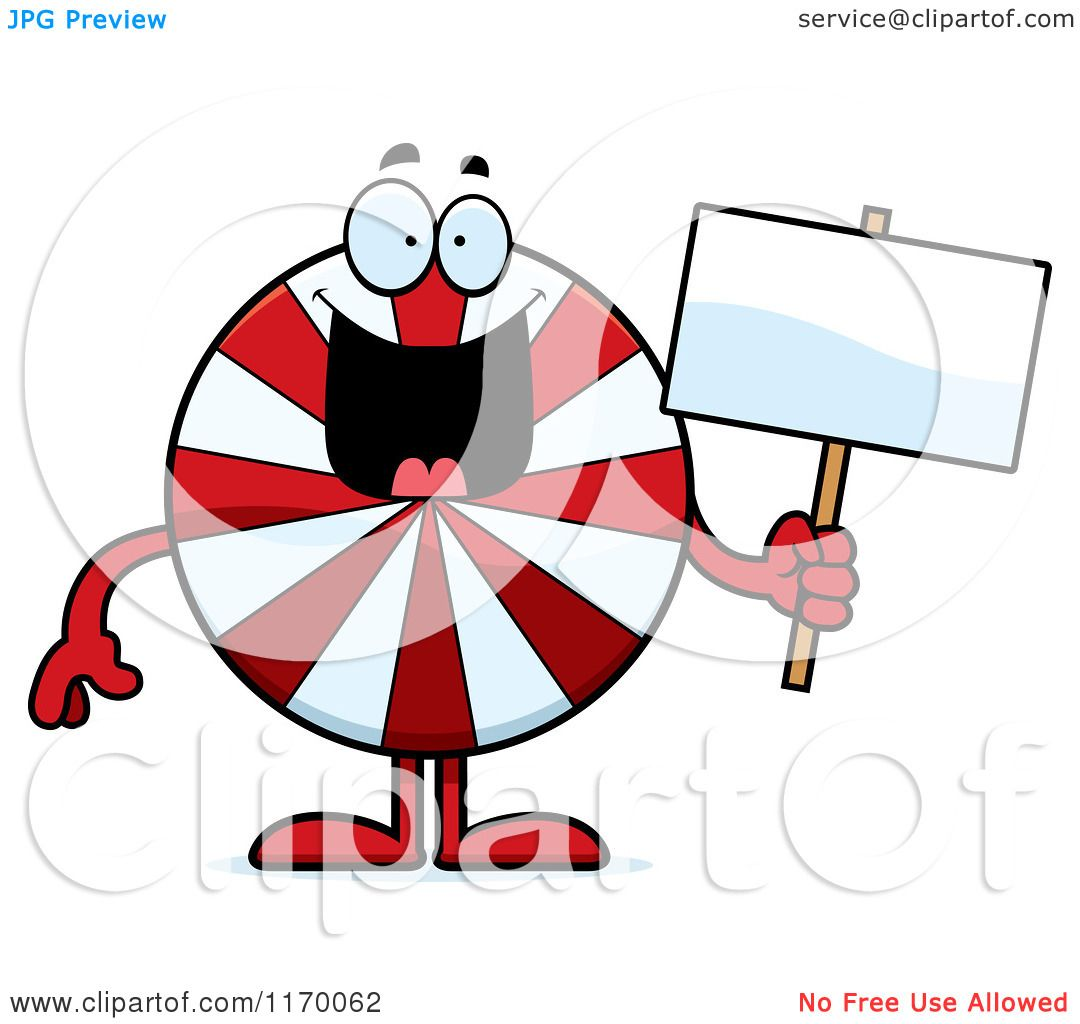 1080x1024 Cartoon Of A Happy Peppermint Candy Mascot Holding A Sign