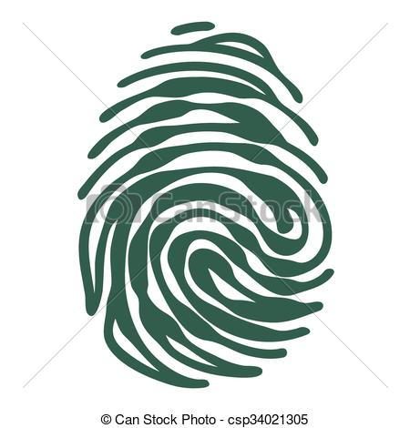 450x470 Fingerprint With Access Padlock Shape. Finger Print With Vector