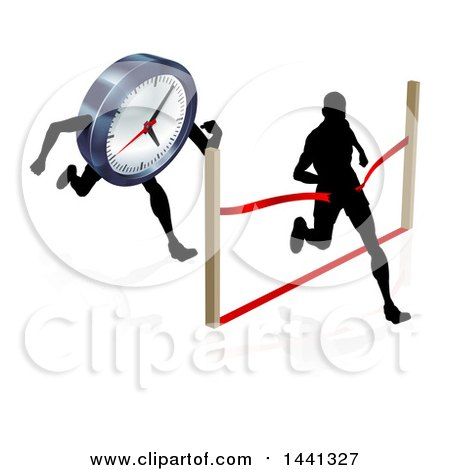 450x470 Clipart Graphic Of A Silhouetted Man Running Through A Finish Line