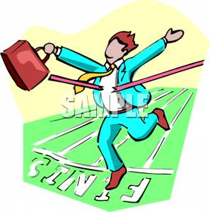 297x300 Clipart Image A Businessman With A Briefcase Crossing The Finish Line