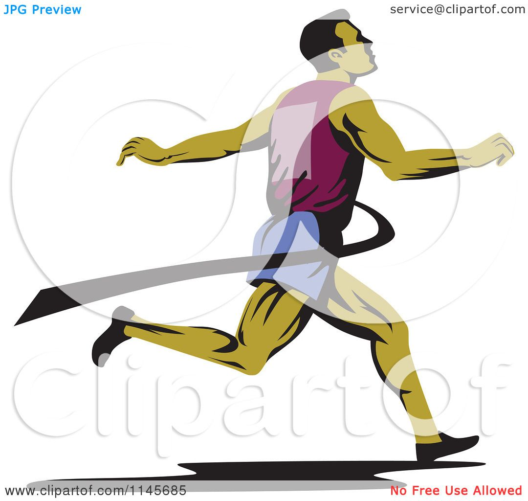 1080x1024 Clipart Of A Retro Runner Sprinting Through The Finish Line
