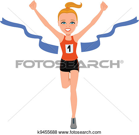 450x438 Girl Crossing Finish Line Clipart