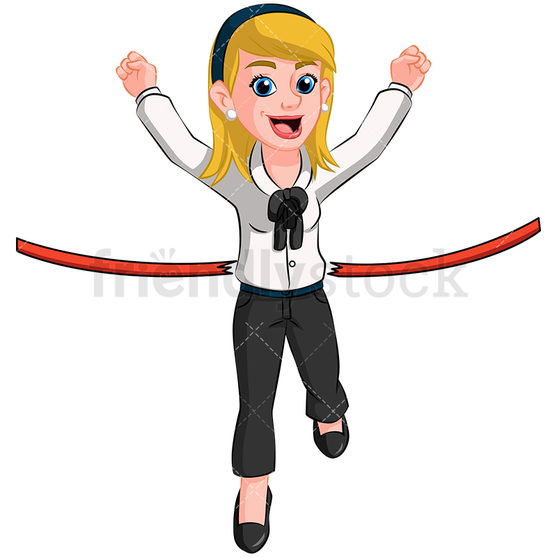 800x800 Business Woman First At Finish Line Vector Cartoon Clipart