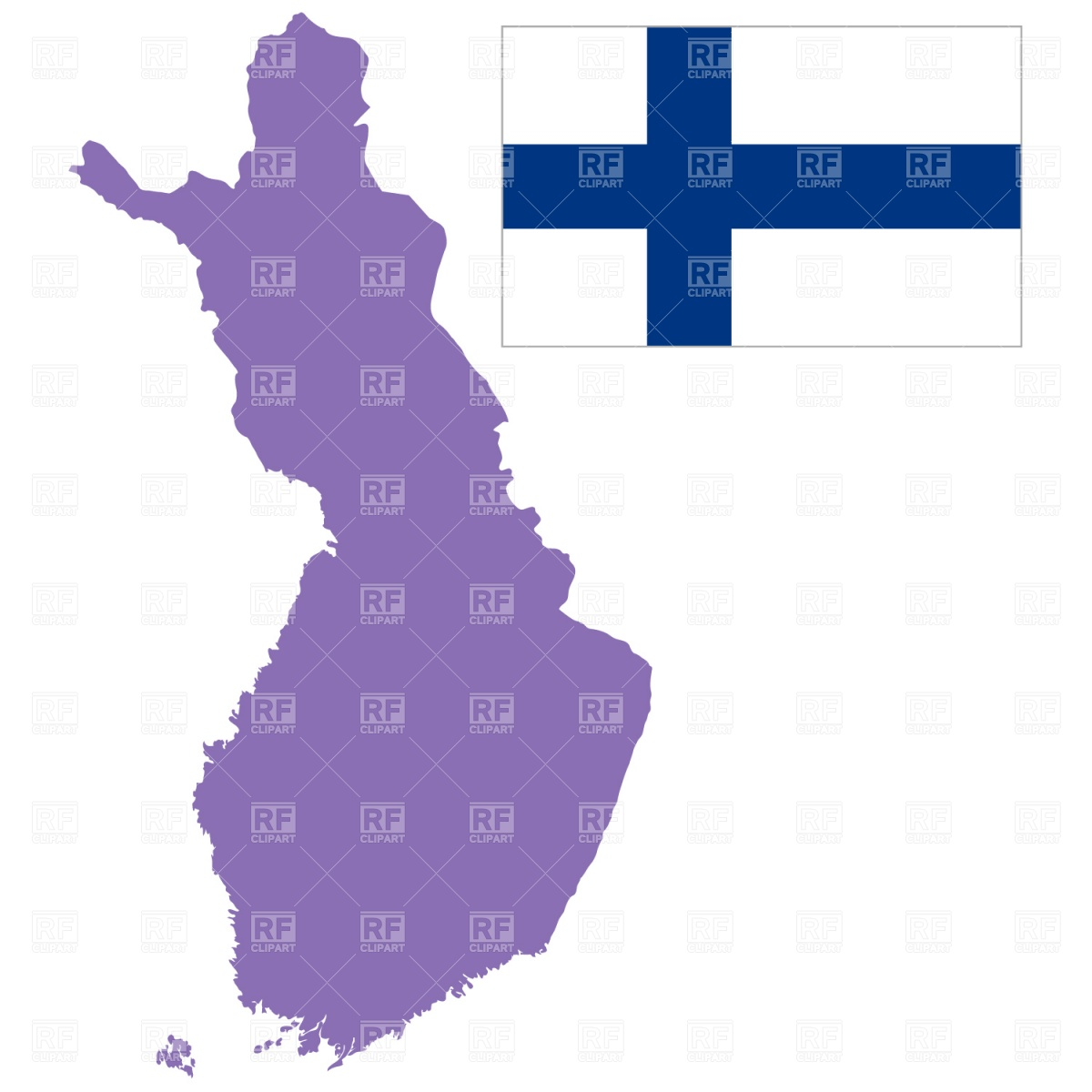 1200x1200 Finland Map Outline And Flag Royalty Free Vector Clip Art Image