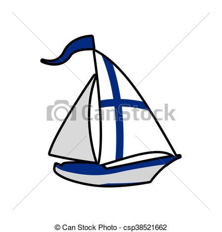 450x470 Sailboat Icon. Finland Design. Vector Graphic. Finland Clip Art