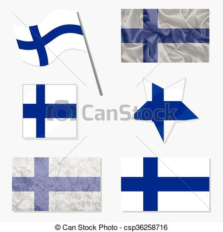 450x470 Set With Flags Of Finland. Flags Of Finland Made In Vector Clip