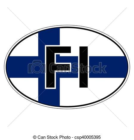 450x470 Sticker On Car, Flag Finland. Sticker On Car Oval, Ellipse Eps