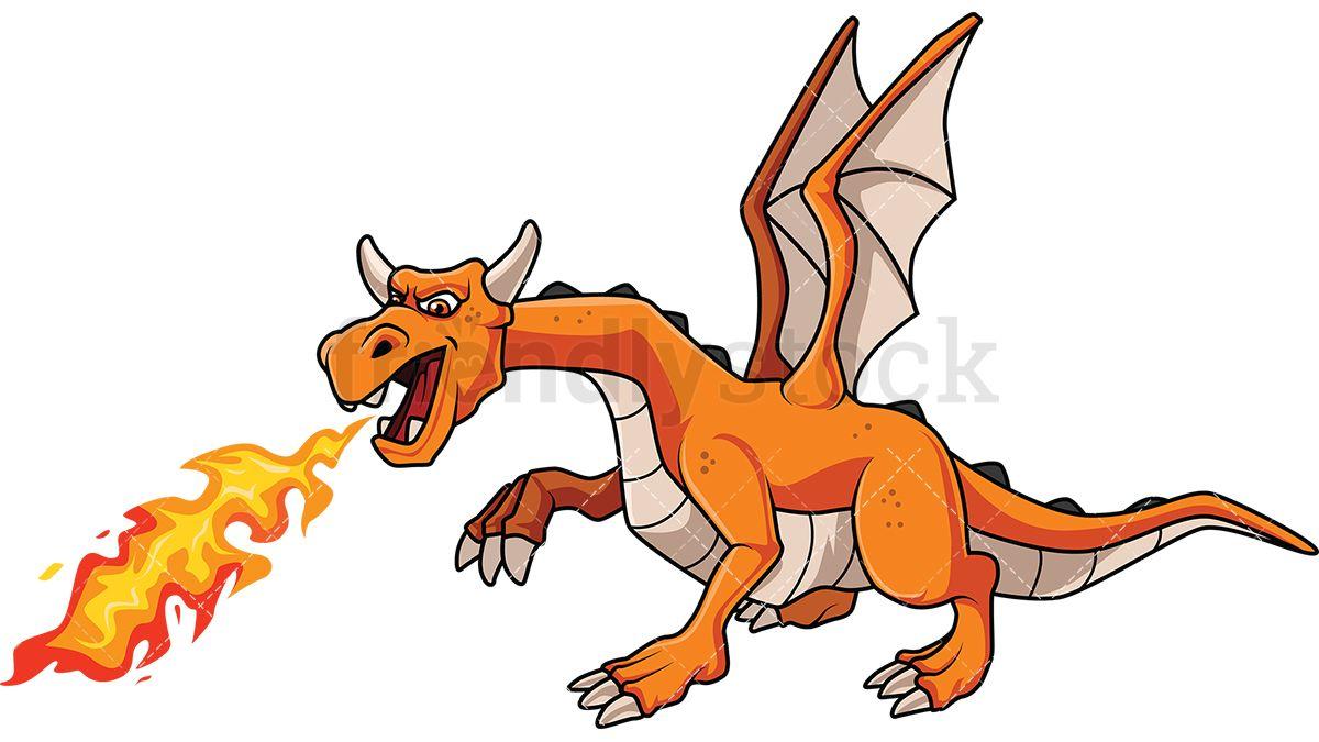 1200x675 Dragon Breathing Fire Cartoon Vector Clipart Dragons, Vector