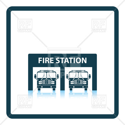 400x400 Fire Station With Fire Engine Icon Royalty Free Vector Clip Art