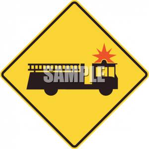 300x300 Yellow Fire Station Caution Sign