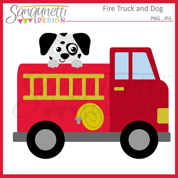 570x570 Fire Truck Clipart, Transportation Clipart, Dalmatian Clipart