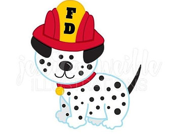 340x270 On Sale Vintage Fire Truck With Dalmatian Cute Digital Clipart