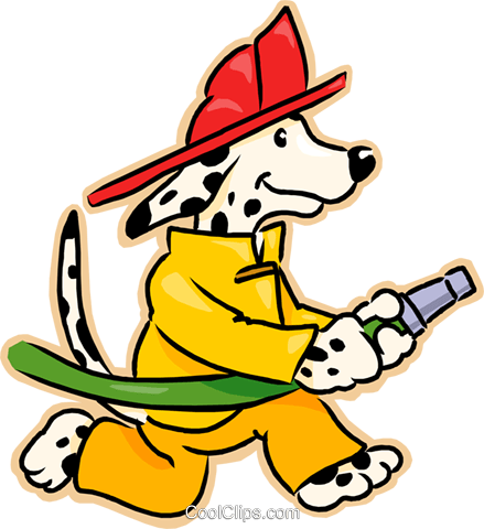 439x480 Dog With Fire Hose Royalty Free Vector Clip Art Illustration