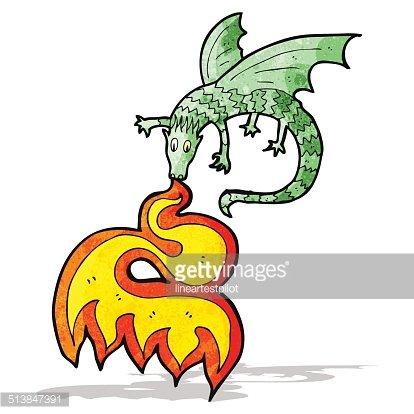 414x414 Fire Breathing Dragon Cartoon Premium Clipart
