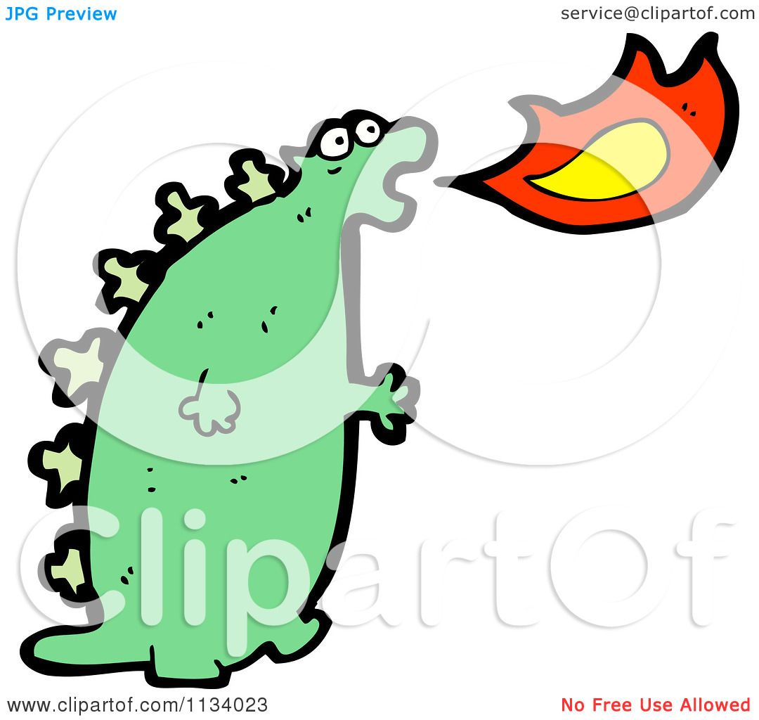 1080x1024 Cartoon Of A Green Fire Breathing Dragon