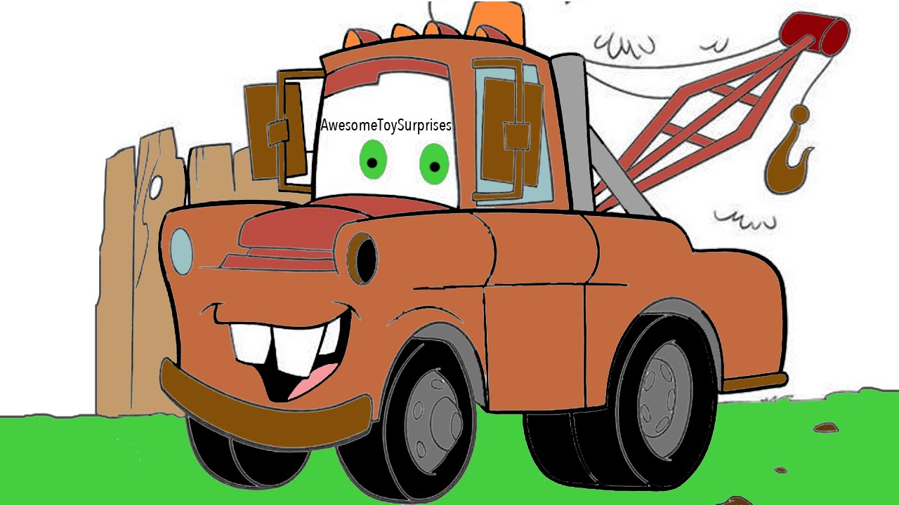 1280x720 Disney Cars Mater! Coloring Page Activity For Kids Toddlers