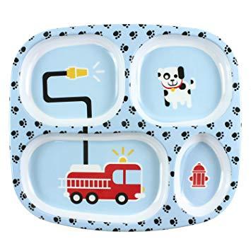 355x355 Bumkins Divided Toddler Plate (Melamine), Fire Engine