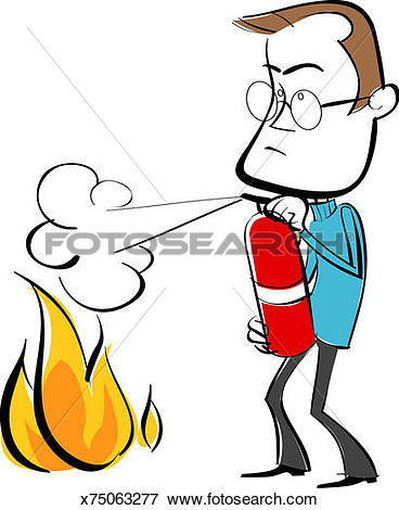 368x470 Clipart Of Man Using Fire Extinguisher