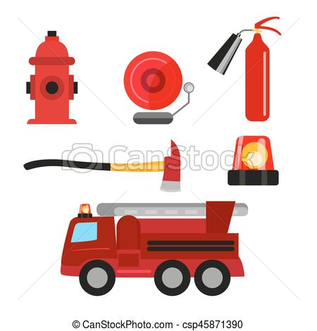 450x470 Fire Safety Icons Set Isolated On White Background. Fire