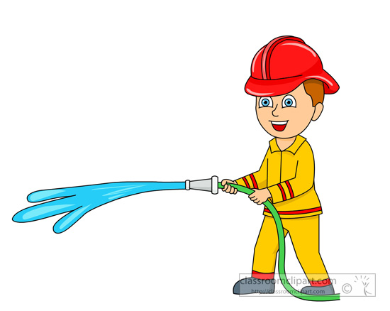550x438 Emergency Clipart Fireman With Water Coming Out Of Fire Hose