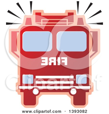 450x470 Cartoon Of A Red Fire Truck And Ladder