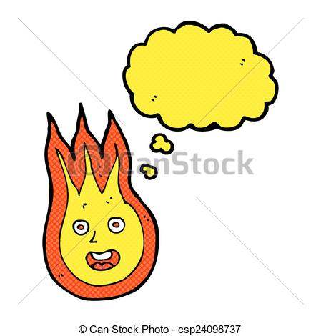 449x470 Cartoon Friendly Fireball With Thought Bubble Vectors