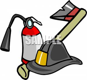 300x277 A Fireman's Axe With A Fire Extinguisher And Hat