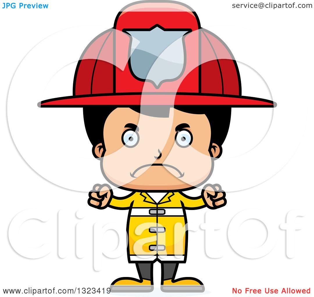 1080x1024 Clipart Of A Cartoon Mad Hispanic Boy Firefighter
