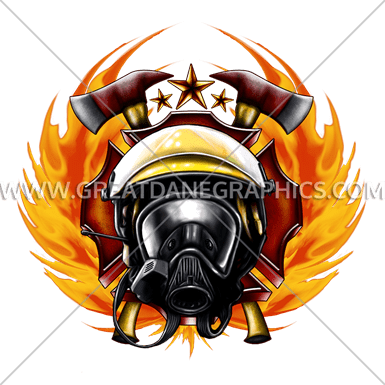 385x385 Fire Fighter Emblem Production Ready Artwork For T Shirt Printing
