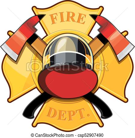 450x458 Fire Department Badge With Crossed Axes, Fire Helmet Against