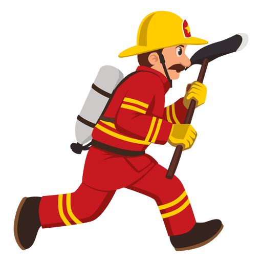 512x512 Firefighter Running With Axe